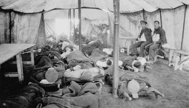This is a picture of a portable hospital tent for Canadian soldiers. It shows how uncomfortable it would have been for wounded soldiers trying to rest and regain their strength. It shows how even though the time was tough for soldiers they stayed strong and got through it. It is a credible source because it was taken from the time period and gives quite a bit of information on how Canadian soldiers rested and regained their strength.
