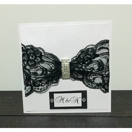 Black Lace and Bling Buckle Invitation www.momentsinlife.net.au