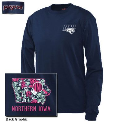University Of Northern Iowa Floral State Long Sleeve T-Shirt (SKU 1179944359)