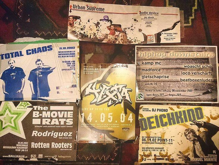 Aufräumen lohnt sich dann doch manchmal.  Gerade diese alten Flyer in einer Kiste gefunden.  Wer war damals alles dabei von euch?  #throwback #hiphop #rap #madforce #totalchaos #shnek #texta #kamp #gletschaprise #deichkind #oldschool #klagenfurt #retro #backinthedays #2000s
