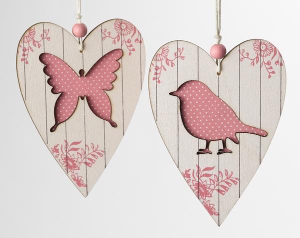 Wooden Hearts Hangers Pink