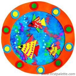 Here's an activity to make a porthole and an underwater scene. Notice the shapes used are circles and triangles. Pair this with an ocean book and you have a nice cross-curricular activity.