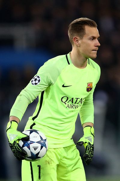 Marc-Andre ter Stegen of Barcelona in action during the UEFA Champions League Round of 16 first leg match between Paris Saint-Germain and FC Barcelona at Parc des Princes on February 14, 2017 in Paris, France.