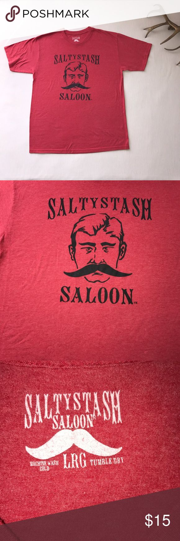 Large Red Men's Shirt Salty Stash Saloon Salty Stash Saloon, mustache man shirt. Size Large, in great condition. 21 inches laid flat armpit to armpit. Shirts Tees - Short Sleeve