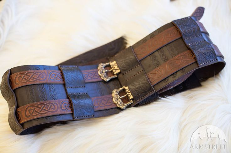 Viking's Embossed Leather War Belt. Available in: brown leather :: by medieval store ArmStreet