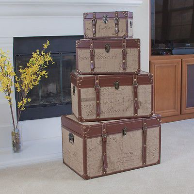 set of 4 stacking home decor storage trunks chests w printed script - Decorative Storage Trunks
