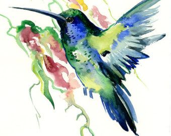Colibrí acuarela original pintura 12 X 9 pájaro azul