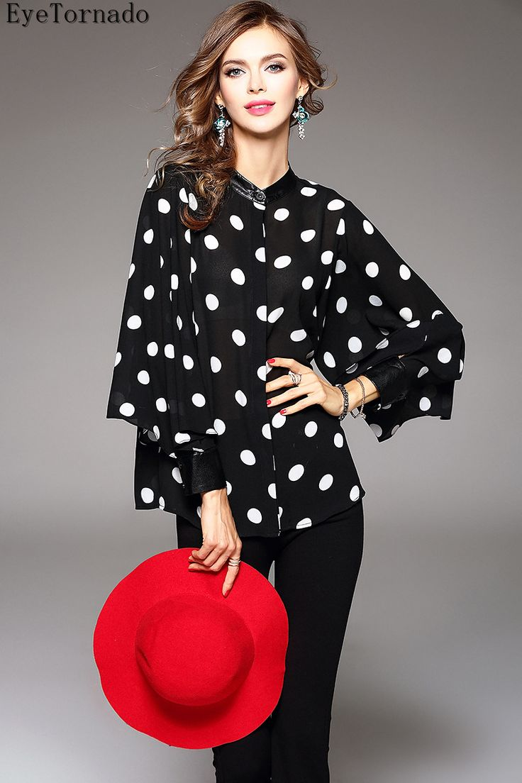 2017 women spring summer British style Pu patchwork polka dot print batwing sleeve short casual work boho blouse shirt 8925