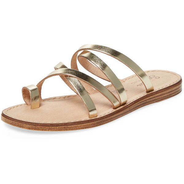 Seychelles Women's Rosie Metallic Leather Strappy Sandal - Gold, Size... ($59) ❤ liked on Polyvore featuring shoes, sandals, gold, metallic flat sandals, toe ring sandals, flat sandals, metallic gold sandals and gold strappy sandals