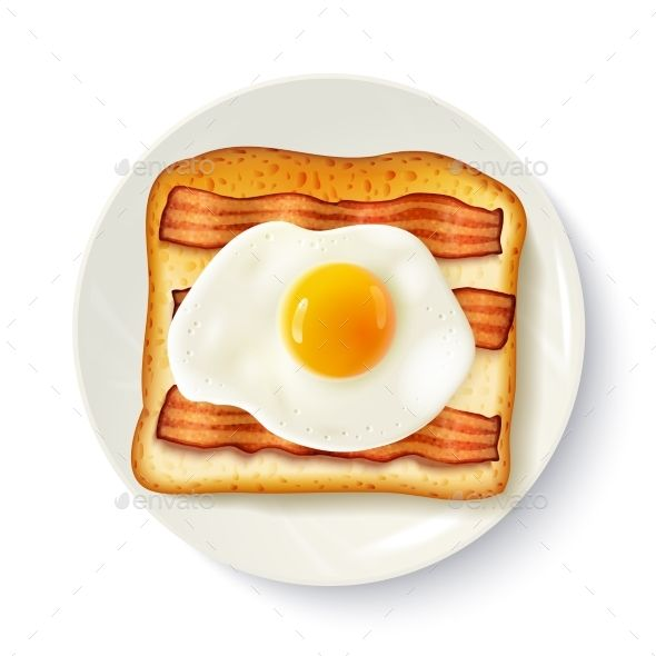 Breakfast Sandwich Top View Realistic Image by macrovector American breakfast food top view realistic image of toasted breadfried egg and bacon on plate vector illustration. Editable EPS an