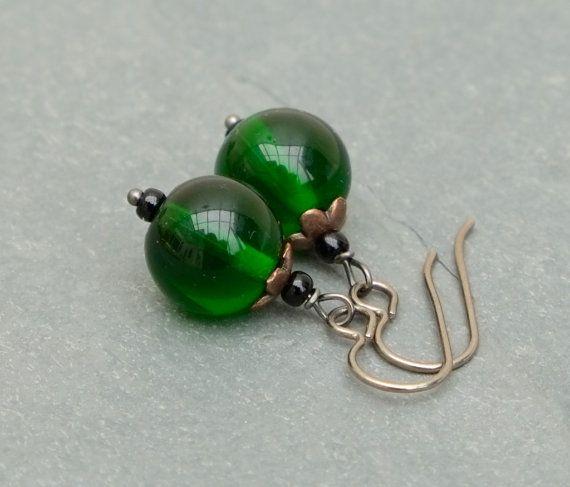 Emerald green Czech glass with titanium ear wires by BijoubeadsLondon