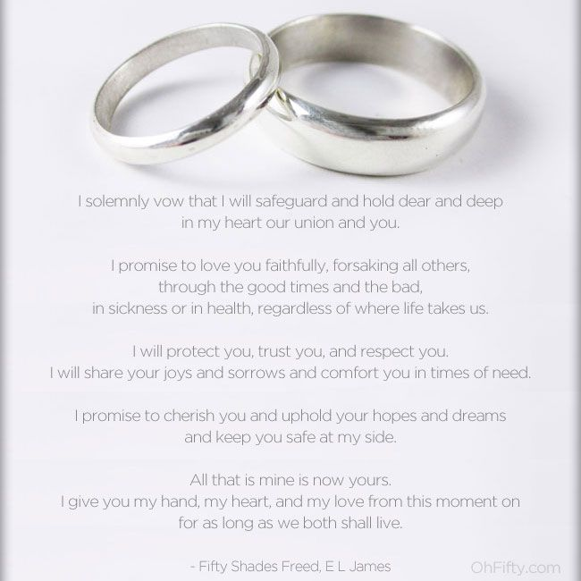 Christian Grey's Wedding Vows ❤  They're cute for any other couple as well