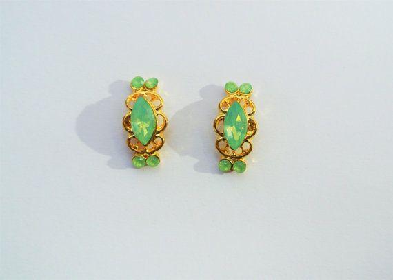 2 Pc Green Opal Nail Charm Gold Nail Art Nail Gem by GlamourFavor