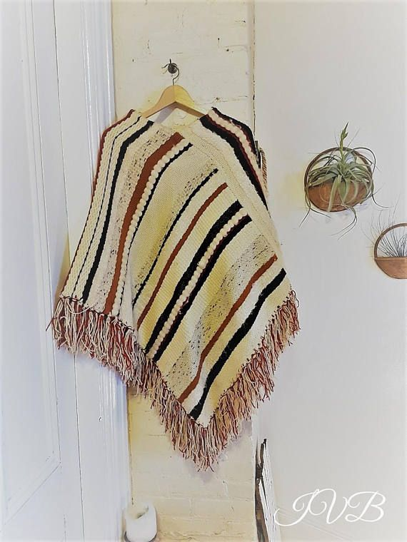 Vintage handwoven poncho from 70's hippie poncho boho