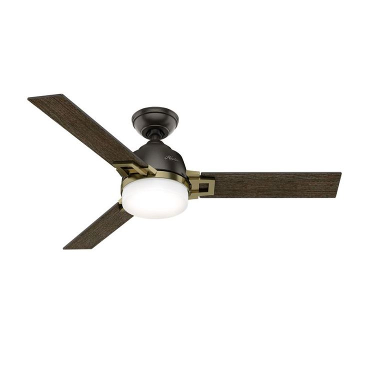"Hunter Leoni 48"" Indoor Ceiling Fan - Remote Control and LED Light Kit Included Noble Bronze and Modern Brass Fans Ceiling Fans Indoor Ceiling Fans"