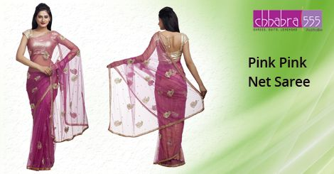 Pink Pink Net Saree in $76.95 AUD with Responsive Customer Service enquiries responded within 24 hours from Chhabra555 in Australia.