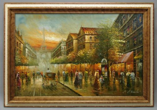 High Quality Oil Painting Of European Street Scene French