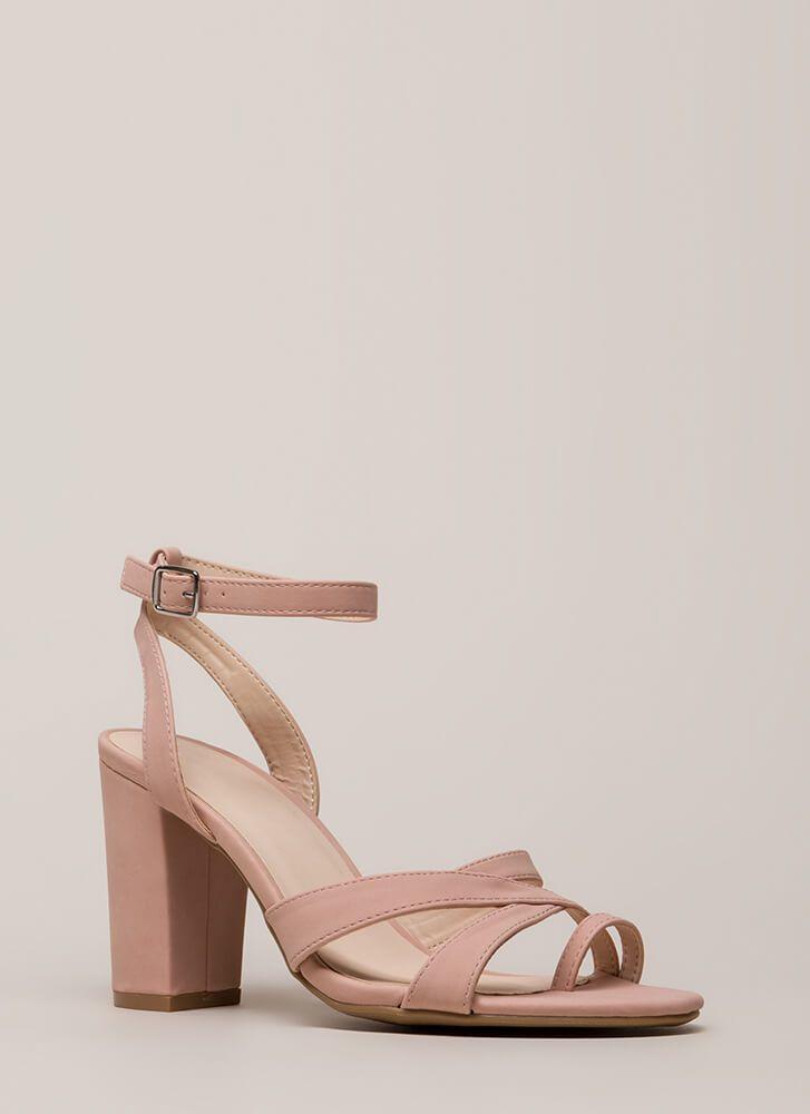 75acdcddf837 Toe The Line Chunky Strappy Heels BLACK BLUSH - GoJane.com