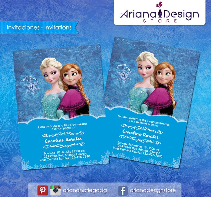 #printable #invitation #frozen #disneyprincess #arianadesignstore #invitacion #fiestainfantil #cumpleaños #anna #elsa