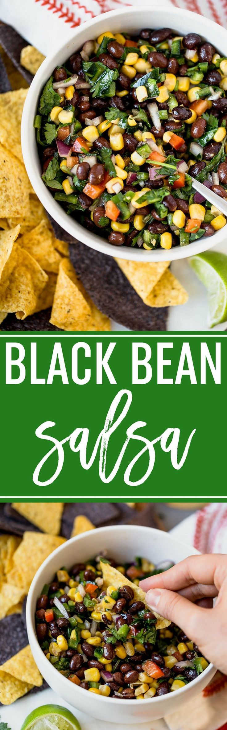 Black Bean Salsa :: Black bean and corn salsa is super fresh and totally bursting with flavor. It's the perfect addition to your next party! via @browneyedbaker