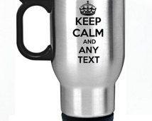 Garder calme tout texte personnalisé tasse thermos en acier inoxydable argent voiture thermique coupe personnalisé parfait cadeau cadeau pour professeur