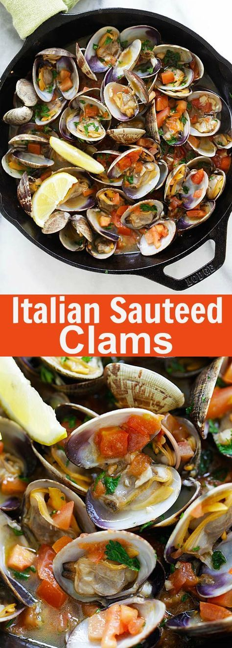 Italian Sauteed Clams – Skillet sauteed clams with garlic, tomatoes, white wine and parsley. This recipe tastes just like restaurants straight from Italy   rasamalaysia.com