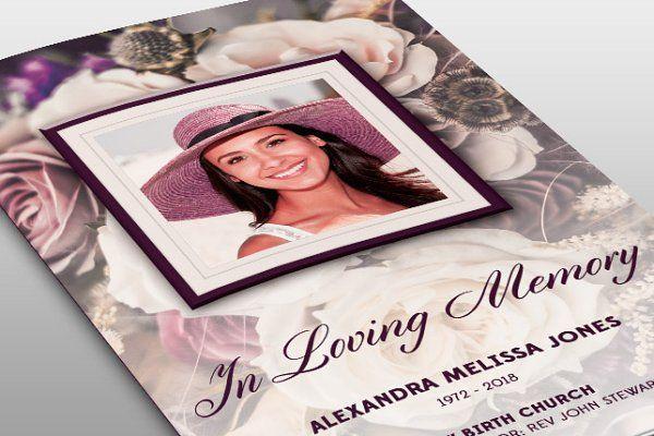 Purple Floral Funeral Program - Brochures - 1