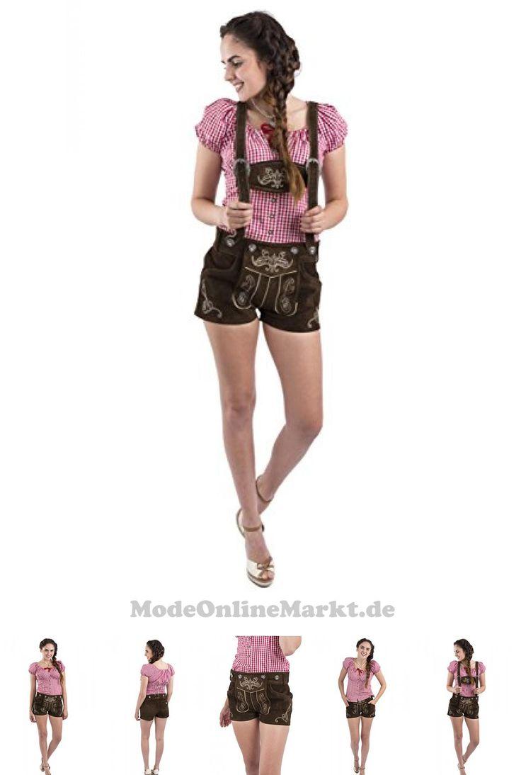 4250393317414 | #Damen #Jugendstil #Trachtenlederhose #kurz  #8211; #Trachten #Lederhose #Damen  #8211; #Alternative #zum #Dirndl  #8211; #Trachtenhose #Hotpants  #8211; #Lederhose #(30, #Dunkelbraun)