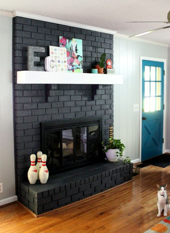 mantel thoughts and door color intense teal rock paper feather rh pinterest com painted fireplace ideas pinterest dark fireplace ideas