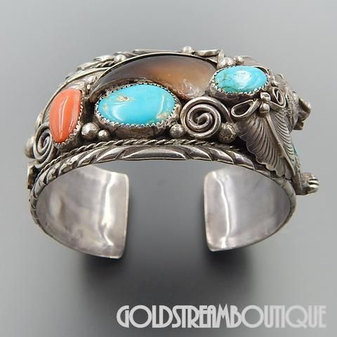 """Vintage Native American Navajo Mike Thompson, Jr. Turquoise Coral Bear Claw Feathers Sterling Silver Bear Cuff Bracelet 8"""""""