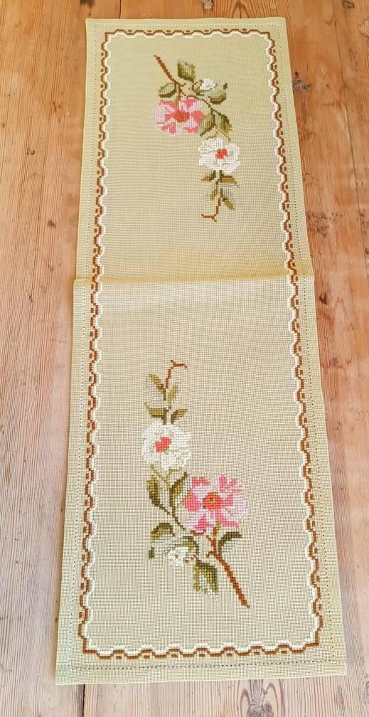 Beautiful floral cross stitch embroidered tablerunner tablecloth in good condition. Spotless. The size is: 25 x 8 1/4 The material is linen, cottonthread International shipping Also offer combined shipping and refund if the shipping cost is overpaid. Contact me if you have questions