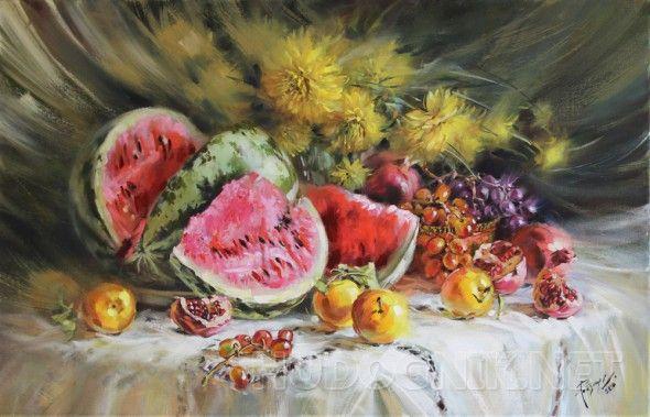 Спелые, сладкие, вкусные. Натюрморт с фруктами. На картине изображены спелые, сладкие ароматные фрукты: сладкий и сочный арбуз, виноградные гроздья двух сортов, желтые яблоки ранетка  и гранат. Они расположились на покрытой белой скатертью столе, на заднем плане, в виде фона,  желтые цветы золотой шар. Глядя на такой натюрморт невольно появляется аппетит. Картина для кухни.