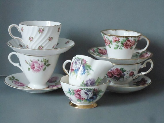 Vintage Tea Cups Saucers and Cream and Sugar by SwirlingOrange11, $58.00