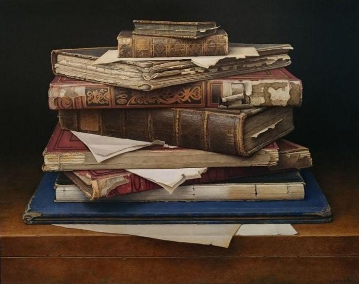 Boekenstilleven - 40 x 50 cm - olieverf op paneel