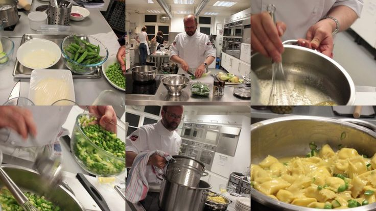Making the vegetable sauce for the agnolotti