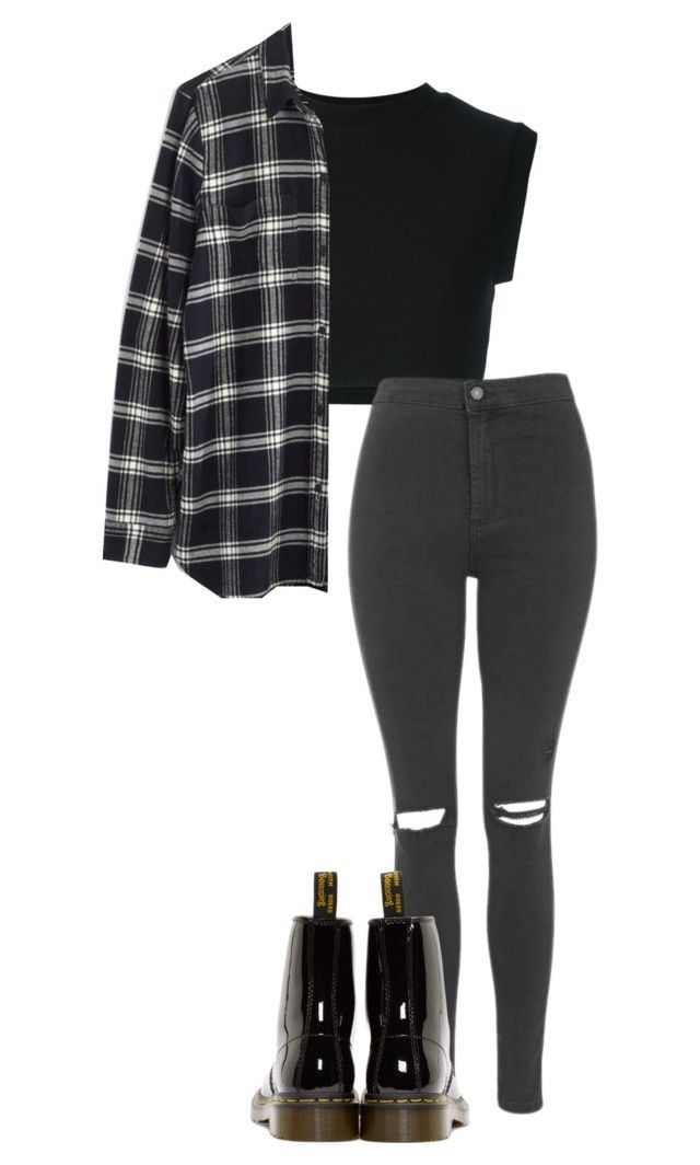 """Untitled #556"" by bands-are-my-savior ❤ liked on Polyvore featuring adidas Originals, Madewell, Topshop and Dr. Martens"