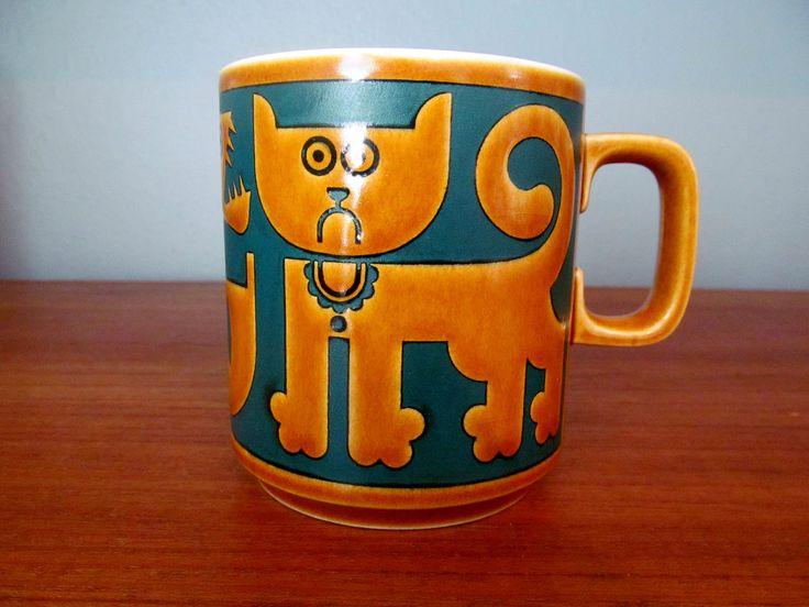 Hornsea Cat and Fish mug от skinnykidvintage на Etsy
