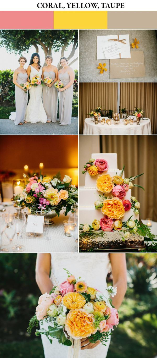 Coral, yellow, and taupe spring wedding color palette | Images by Cami Jane Photography