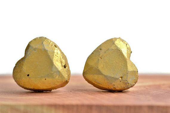 Fun,  unique gold CONCRETE heart earring studs