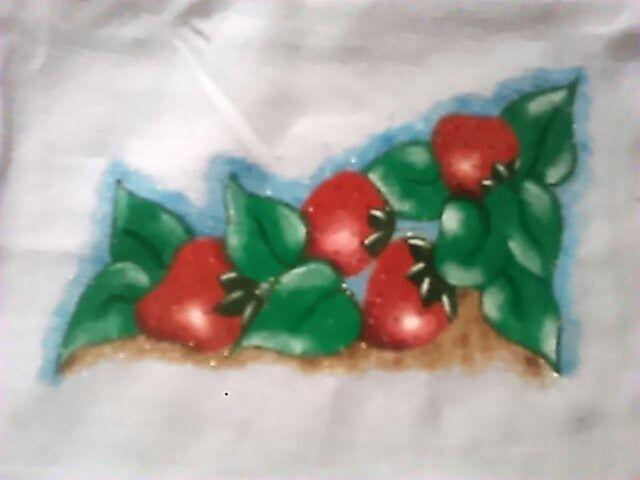 Pintura em tecido no panos de prato