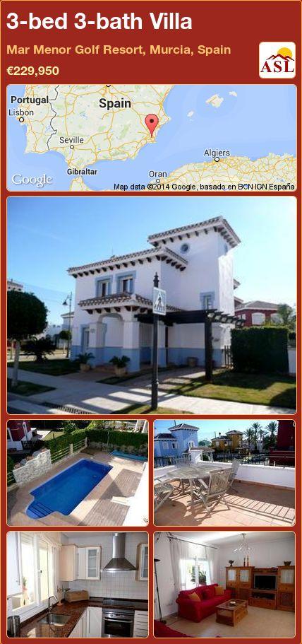 3-bed 3-bath Villa in Mar Menor Golf Resort, Murcia, Spain ►€229,950 #PropertyForSaleInSpain