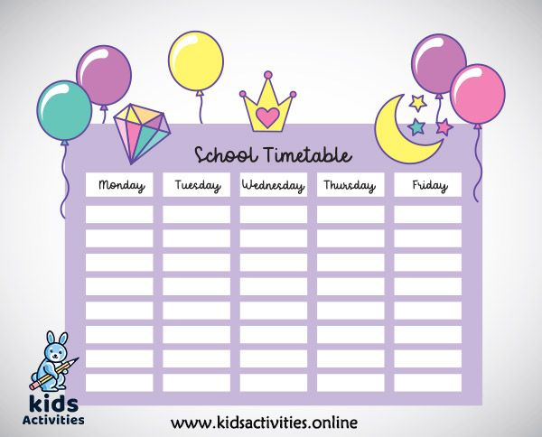 2020 School Timetable Template Free Download Kids Activities In 2020 School Timetable Timetable Template School
