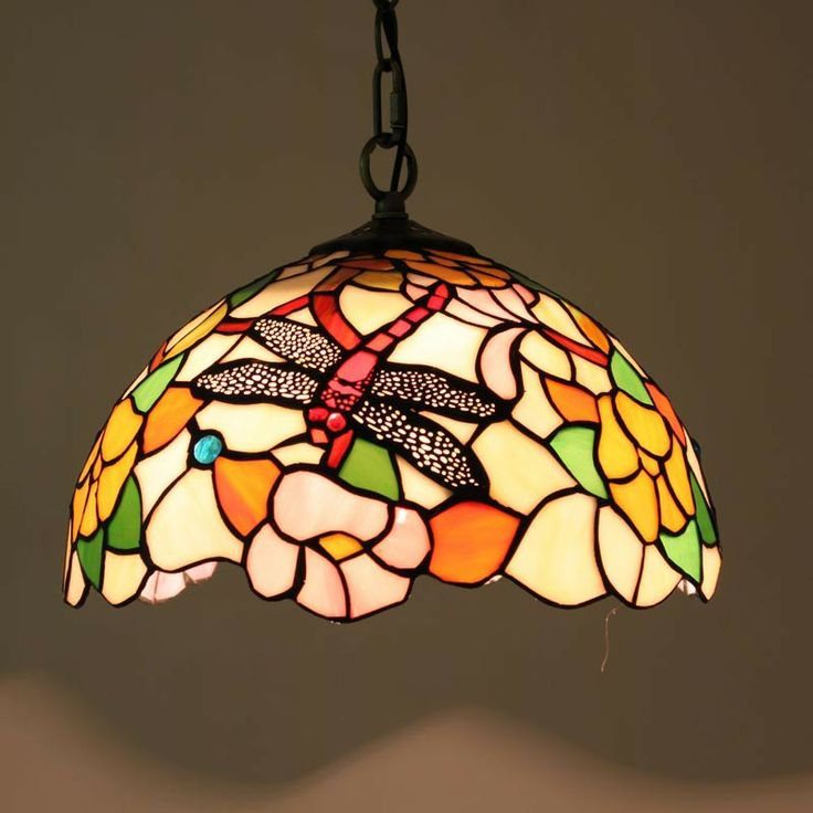 Dragonfly and Flower Tiffany Pendant Lamp