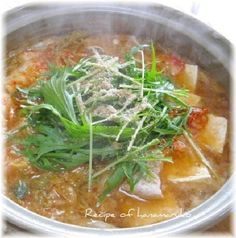 """Pork & burdock NABE(KIMUCHI soup)"" 豚バラ肉とごぼうと豆腐のキムチ鍋/キムチ鍋"