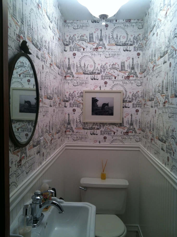 17 best images about toilet on pinterest small bathroom for Funky bathroom wallpaper ideas