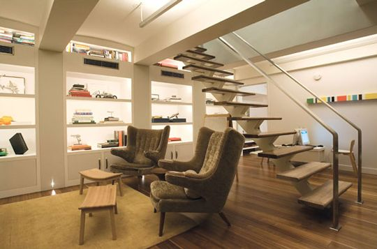 Yes please.: Modern Classic, Modern Living Rooms, Open Shelves, Basements Lights, Bears, Finish Basements, Under Stairs, New York Time, Houses Tours