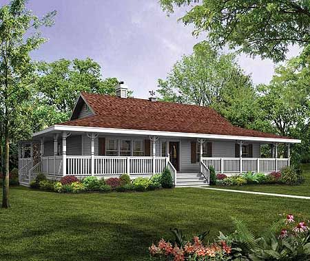 Best One Story Ranch Farmhouses With Wrap Around Porches