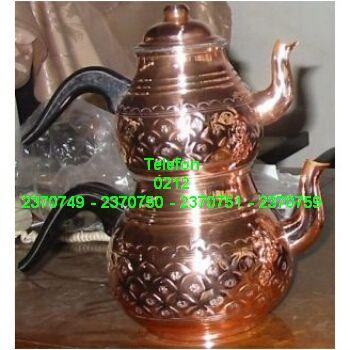 Bakırçaydanlık takımı satış telefonu 0212 2370750 Nostaljik işlemeli bakır çay demliği takımının en ucuz fiyatlarıyla satışı 0212 2370749