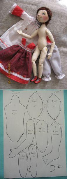 Шарнирная текстильная кукла от Людмилы Кошутиной.