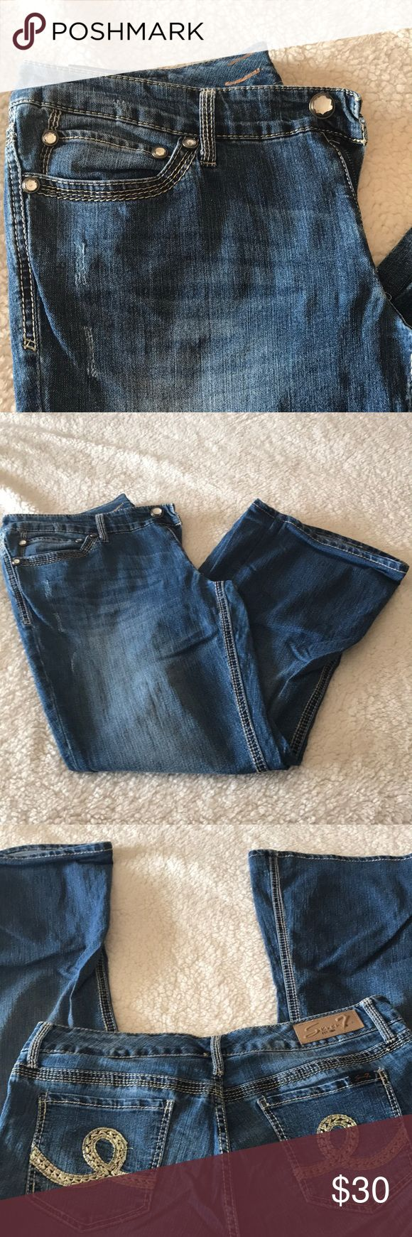 Seven7 plus size denim jeans sz 14 destructed wash Seven plus size denim jeans sz 14 destructed wash with large stitch details. Recent 50pd weight loss is causing me to clean out my closet, lots of items listing daily. Bundle multiple listings to save on shipping. Seven7 Jeans Flare & Wide Leg
